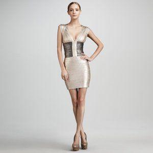 Herve Leger Metallic Bandage Dress - Small